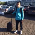 Jamie Dekkers (ZVV Eindhoven) klaar om te vertrekken naar Portugal met het Nederlands zaalvoetbalteam O17