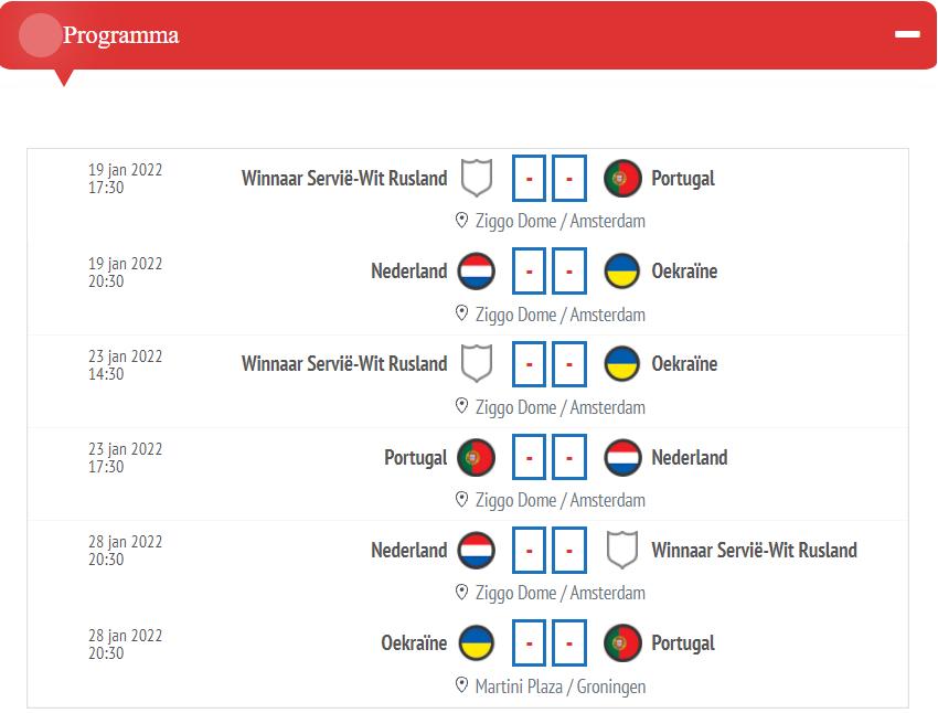 Programma EK Futsal 2022 (Groep A, B, C en D), incl. aanvangstijden